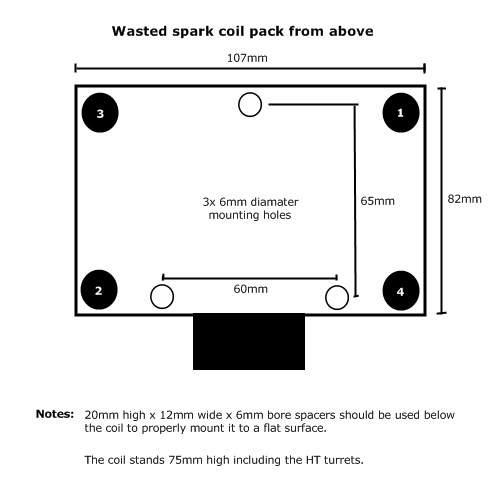 wasted spark coil pack with built in ignitors efi parts
